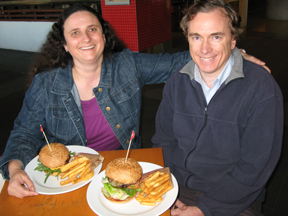 Greg & Leanne Annett Enjoying Grill'd Healthy Burgers