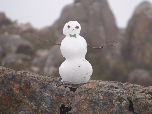 Snowman on Rock on Mt Wellington, Hobart