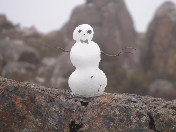 Snowman on Rock on Mt Wellington, Hobart
