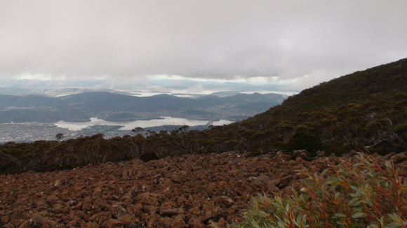 Mt Wellington View Hobart with Clouds Above