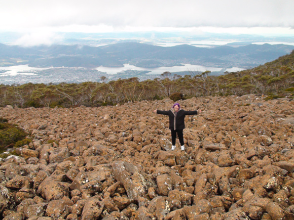 Mt Wellington View With Rocks Below & Clouds Above