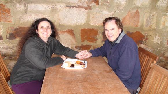 Enjoying a Cheese Platter at Pooley Wines, Tasmania