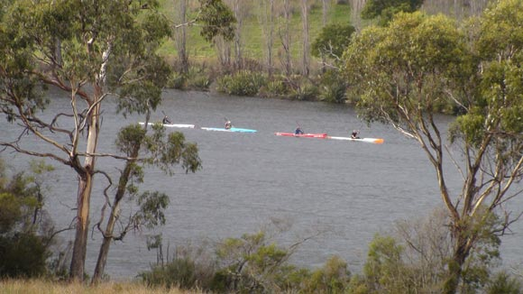 Kayakers Kayaking Along Huon River Near Huonville