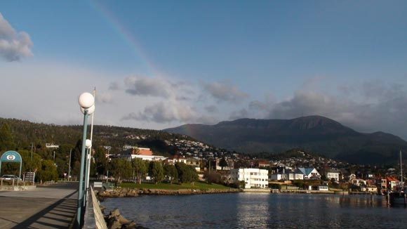 Rainbow Behind Hobart Casino Above Mt Wellington