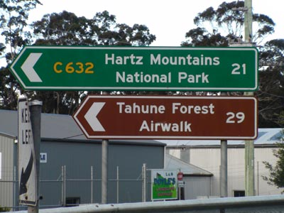 Tahune Forest Airwalk Road Sign Geeveston Tasmania